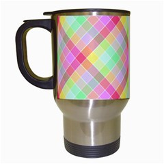 Pastel Rainbow Tablecloth Diagonal Check Travel Mugs (white) by PodArtist