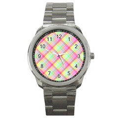 Pastel Rainbow Tablecloth Diagonal Check Sport Metal Watch by PodArtist