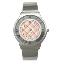 Pastel Rainbow Tablecloth Diagonal Check Stainless Steel Watch by PodArtist