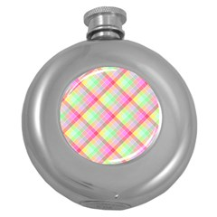 Pastel Rainbow Tablecloth Diagonal Check Round Hip Flask (5 Oz) by PodArtist