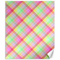 Pastel Rainbow Tablecloth Diagonal Check Canvas 20  X 24  by PodArtist