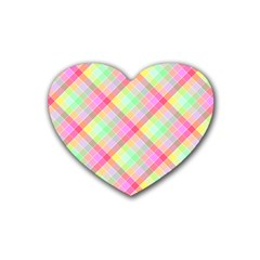 Pastel Rainbow Tablecloth Diagonal Check Heart Coaster (4 Pack)  by PodArtist