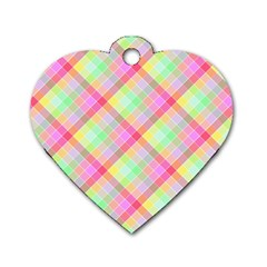 Pastel Rainbow Tablecloth Diagonal Check Dog Tag Heart (two Sides) by PodArtist