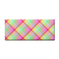 Pastel Rainbow Tablecloth Diagonal Check Hand Towel by PodArtist