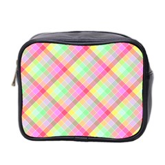 Pastel Rainbow Tablecloth Diagonal Check Mini Toiletries Bag (two Sides) by PodArtist