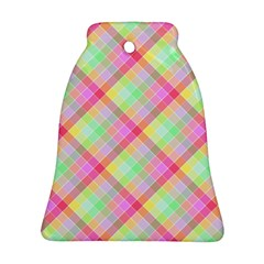 Pastel Rainbow Tablecloth Diagonal Check Ornament (bell) by PodArtist