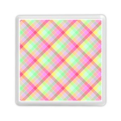 Pastel Rainbow Tablecloth Diagonal Check Memory Card Reader (square) by PodArtist