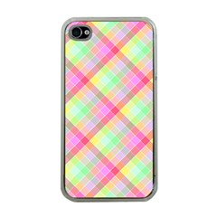 Pastel Rainbow Tablecloth Diagonal Check Apple Iphone 4 Case (clear) by PodArtist