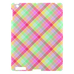 Pastel Rainbow Tablecloth Diagonal Check Apple Ipad 3/4 Hardshell Case by PodArtist