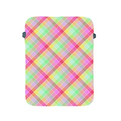 Pastel Rainbow Tablecloth Diagonal Check Apple Ipad 2/3/4 Protective Soft Cases by PodArtist