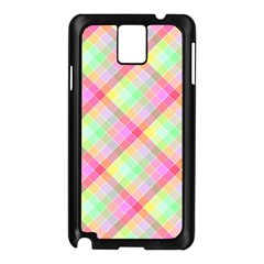 Pastel Rainbow Tablecloth Diagonal Check Samsung Galaxy Note 3 N9005 Case (black) by PodArtist