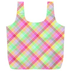 Pastel Rainbow Tablecloth Diagonal Check Full Print Recycle Bag (xl) by PodArtist
