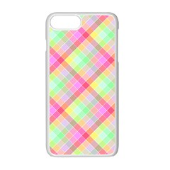 Pastel Rainbow Tablecloth Diagonal Check Apple Iphone 7 Plus Seamless Case (white) by PodArtist