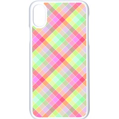 Pastel Rainbow Tablecloth Diagonal Check Apple Iphone X Seamless Case (white) by PodArtist