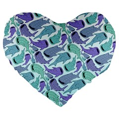 Whale Sharks Large 19  Premium Flano Heart Shape Cushions by mbendigo