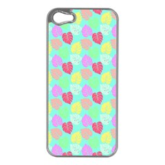 Pastel Rainbow Monstera Apple Iphone 5 Case (silver) by PodArtist
