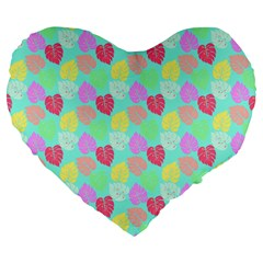 Pastel Rainbow Monstera Large 19  Premium Heart Shape Cushions by PodArtist