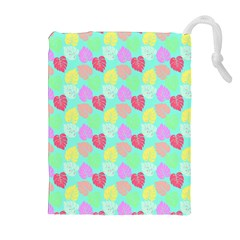 Pastel Rainbow Monstera Drawstring Pouch (xl) by PodArtist