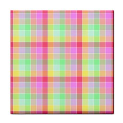 Pastel Rainbow Sorbet Ice Cream Check Plaid Tile Coasters by PodArtist