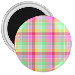 Pastel Rainbow Sorbet Ice Cream Check Plaid 3  Magnets by PodArtist