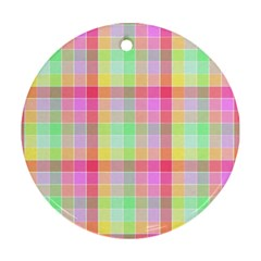 Pastel Rainbow Sorbet Ice Cream Check Plaid Ornament (round) by PodArtist