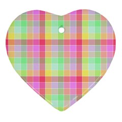 Pastel Rainbow Sorbet Ice Cream Check Plaid Ornament (heart) by PodArtist