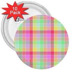 Pastel Rainbow Sorbet Ice Cream Check Plaid 3  Buttons (10 Pack)  by PodArtist