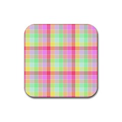 Pastel Rainbow Sorbet Ice Cream Check Plaid Rubber Square Coaster (4 Pack)  by PodArtist