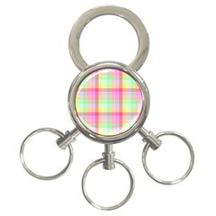 Pastel Rainbow Sorbet Ice Cream Check Plaid 3 Ring Key Chains by PodArtist