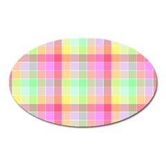 Pastel Rainbow Sorbet Ice Cream Check Plaid Oval Magnet by PodArtist