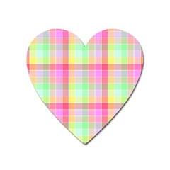Pastel Rainbow Sorbet Ice Cream Check Plaid Heart Magnet by PodArtist