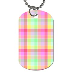 Pastel Rainbow Sorbet Ice Cream Check Plaid Dog Tag (two Sides) by PodArtist