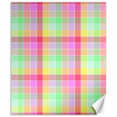 Pastel Rainbow Sorbet Ice Cream Check Plaid Canvas 8  X 10  by PodArtist