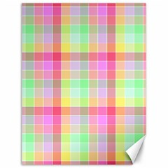 Pastel Rainbow Sorbet Ice Cream Check Plaid Canvas 12  X 16  by PodArtist