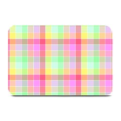 Pastel Rainbow Sorbet Ice Cream Check Plaid Plate Mats by PodArtist