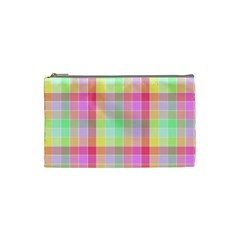 Pastel Rainbow Sorbet Ice Cream Check Plaid Cosmetic Bag (small) by PodArtist
