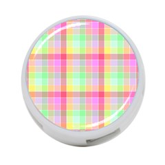 Pastel Rainbow Sorbet Ice Cream Check Plaid 4 Port Usb Hub (two Sides) by PodArtist