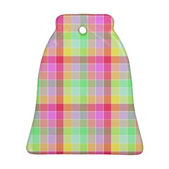 Pastel Rainbow Sorbet Ice Cream Check Plaid Ornament (bell) by PodArtist