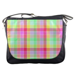 Pastel Rainbow Sorbet Ice Cream Check Plaid Messenger Bag by PodArtist
