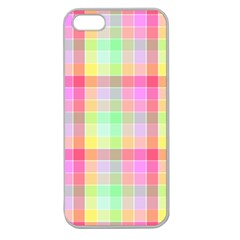 Pastel Rainbow Sorbet Ice Cream Check Plaid Apple Seamless Iphone 5 Case (clear) by PodArtist