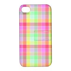 Pastel Rainbow Sorbet Ice Cream Check Plaid Apple Iphone 4/4s Hardshell Case With Stand by PodArtist