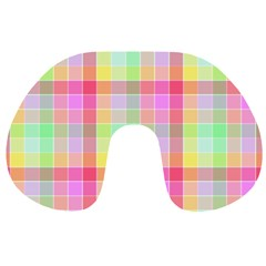 Pastel Rainbow Sorbet Ice Cream Check Plaid Travel Neck Pillows by PodArtist