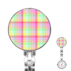 Pastel Rainbow Sorbet Ice Cream Check Plaid Stainless Steel Nurses Watch by PodArtist