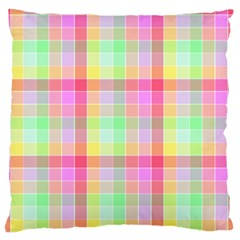 Pastel Rainbow Sorbet Ice Cream Check Plaid Standard Flano Cushion Case (two Sides) by PodArtist