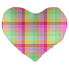 Pastel Rainbow Sorbet Ice Cream Check Plaid Large 19  Premium Flano Heart Shape Cushions by PodArtist