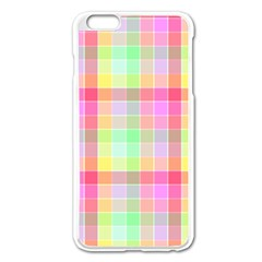 Pastel Rainbow Sorbet Ice Cream Check Plaid Apple Iphone 6 Plus/6s Plus Enamel White Case by PodArtist