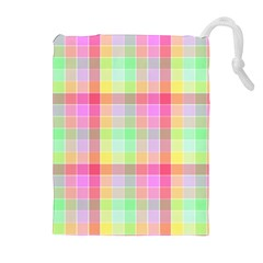 Pastel Rainbow Sorbet Ice Cream Check Plaid Drawstring Pouch (xl) by PodArtist