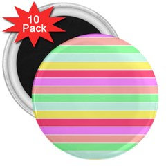 Pastel Rainbow Sorbet Horizontal Deck Chair Stripes 3  Magnets (10 Pack)  by PodArtist