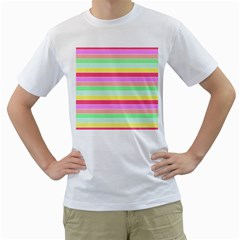 Pastel Rainbow Sorbet Horizontal Deck Chair Stripes Men s T Shirt (white) (two Sided) by PodArtist