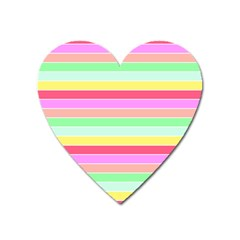 Pastel Rainbow Sorbet Horizontal Deck Chair Stripes Heart Magnet by PodArtist